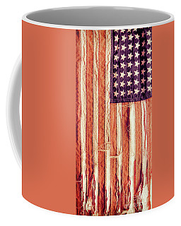 Coffee Mug featuring the photograph Ragged American Flag by Jill Battaglia