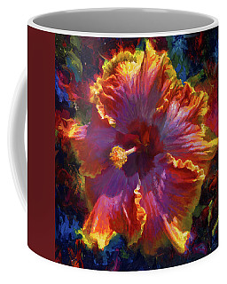 Rainbow Hibiscus Tropical Flower Wall Art Botanical Oil Painting Radiance  Coffee Mug