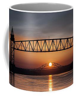 Railroad Bridge Framing The Bourne Bridge During A Sunrise Coffee Mug