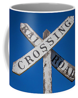 Railroad Crossing Wooden Sign Coffee Mug