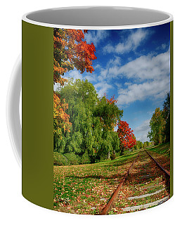 Railroad Tracks At Grand-pre National Historic Site Coffee Mug by Ken Morris