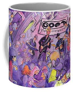 Railbenders At The Goat Soup And Whiskey Coffee Mug by David Sockrider