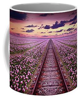 Railway In A Purple Tulip Field Coffee Mug