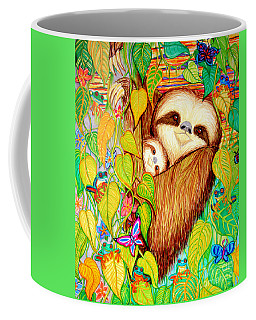 Rain Forest Survival Mother And Baby Three Toed Sloth Coffee Mug by Nick Gustafson