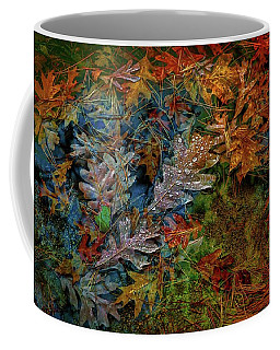 Coffee Mug featuring the photograph Rain Over Autumn Leaves by Lilia D