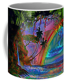 Coffee Mug featuring the painting Rainboow Drenched In Layers by Catherine Lott