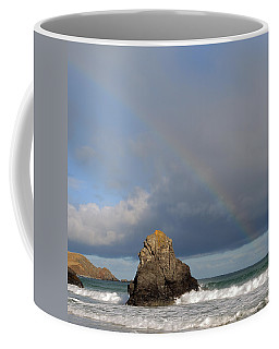 Coffee Mug featuring the photograph Rainbow Above Sango Bay Sea Stack by Maria Gaellman