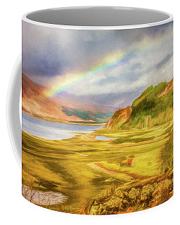 Coffee Mug featuring the photograph Painted Effect - Rainbow Across The Valley by Susan Leonard