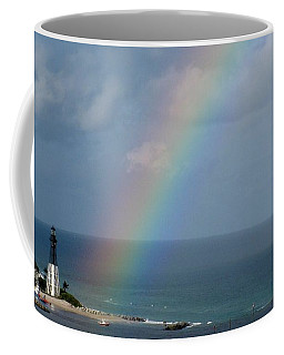 Rainbow At Lighthouse Coffee Mug
