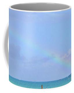Coffee Mug featuring the digital art Rainbow At The Beach 1 by Francesca Mackenney