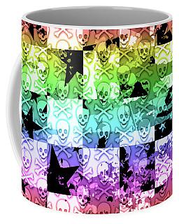 Rainbow Checker Skull Splatter Coffee Mug