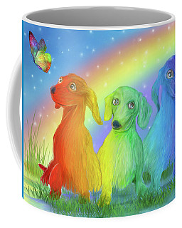Coffee Mug featuring the mixed media Rainbow Doxies 2 by Carol Cavalaris