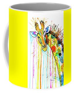 Coffee Mug featuring the painting Rainbow Giraffe by Zaira Dzhaubaeva