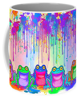 Coffee Mug featuring the painting Rainbow Of Painted Frogs by Nick Gustafson