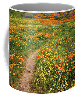Rainbow Of Wildflowers Bloom Near Diamond Lake In California Coffee Mug