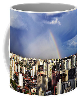 Rainbow Over City Skyline - Sao Paulo Coffee Mug