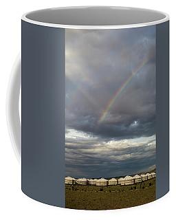 Coffee Mug featuring the photograph Rainbow Over Ger Camp, Gobi, 2016 by Hitendra SINKAR