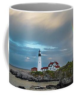 Rainbow Over Portland Head Light Coffee Mug