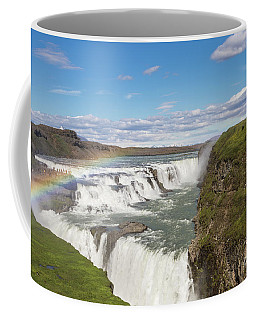 Rainbow Over The Gullfoss Waterfall In Iceland Coffee Mug