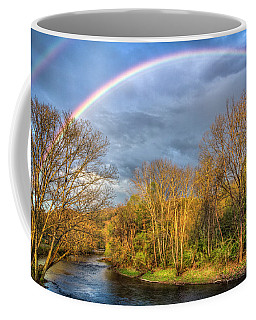Coffee Mug featuring the photograph Rainbow Over The River by Debra and Dave Vanderlaan