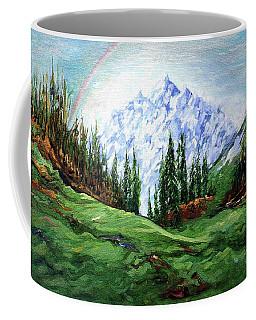 Rainbow Over The Snow Covered Mountain Coffee Mug