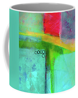 Coffee Mug featuring the painting Rainbow Square Abstract Painting by Nancy Merkle