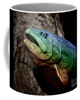 Rainbow Trout Wood Sculpture Square Coffee Mug by John Stephens