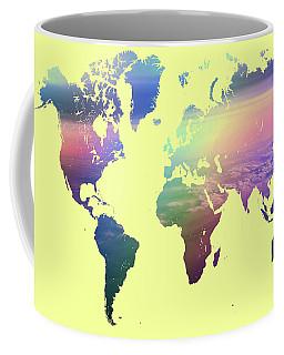 Coffee Mug featuring the photograph Rainbow World Map. Yellow Version by Jenny Rainbow