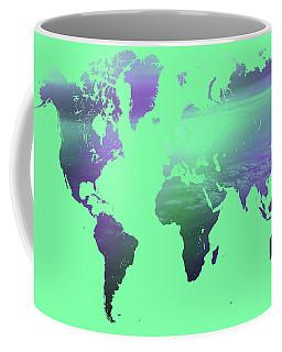 Coffee Mug featuring the photograph Rainbow World Map. Green Version by Jenny Rainbow
