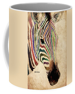 Coffee Mug featuring the painting Rainbow Zebra by Greg Collins