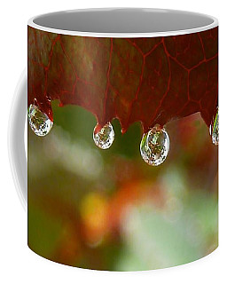 Coffee Mug featuring the photograph Raindrops On A Red Leaf by Patricia Strand
