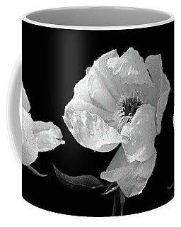 Raindrops On Peonies Black And White Panoramic Coffee Mug by Gill Billington
