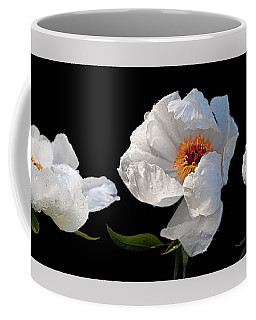 Raindrops On White Peonies Panoramic Coffee Mug by Gill Billington