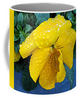 Coffee Mug featuring the photograph Raindrops On Yellow Pansy by E Faithe Lester