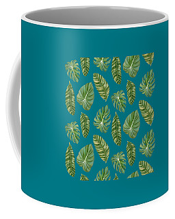 Rainforest Resort - Tropical Leaves Elephant's Ear Philodendron Banana Leaf Coffee Mug by Audrey Jeanne Roberts