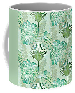 Rainforest Tropical - Elephant Ear And Fan Palm Leaves Repeat Pattern Coffee Mug