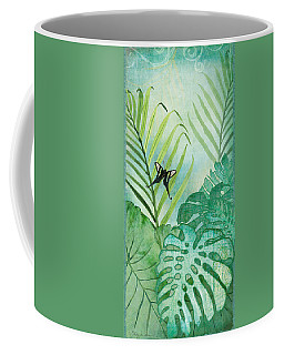 Rainforest Tropical - Philodendron Elephant Ear And Palm Leaves W Botanical Butterfly Coffee Mug