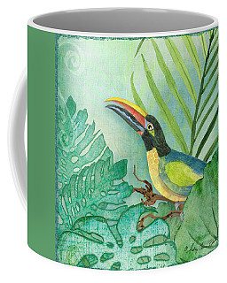 Rainforest Tropical - Jungle Toucan W Philodendron Elephant Ear And Palm Leaves 2 Coffee Mug