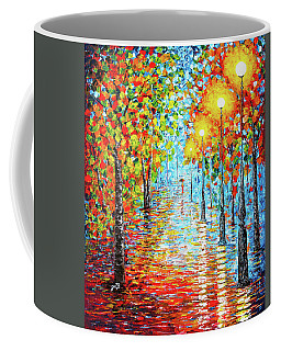 Coffee Mug featuring the painting Rainy Autumn Evening In The Park Acylic Palette Knife Painting by Georgeta Blanaru