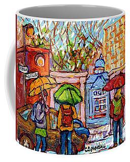 Rainy Day At Mcgill Campus Roddick Gates Painting Canadian University Scene C Spandau Montreal Art   Coffee Mug