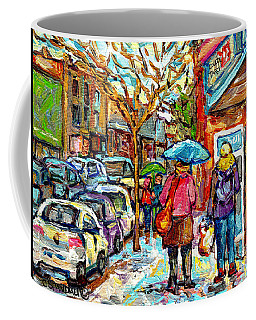 Rainy Day Stroll Couche Tard Wellington Verdun Streetscene Painting C Spandau Artist Montreal Art    Coffee Mug