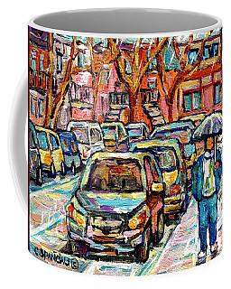 Rainy Day Stroll Verdun Street Scene Canadian Painting Walking The Neighborhood Quebec Art C Spandau Coffee Mug