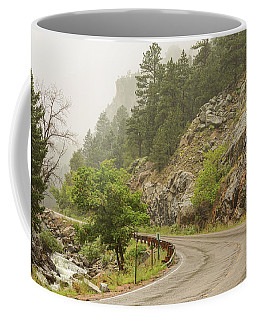 Coffee Mug featuring the photograph Rainy Misty Boulder Creek And Boulder Canyon Drive by James BO Insogna