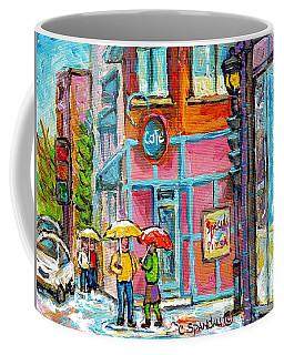 Rainy Umbrella Day Restaurant Painting Lunch At Linda's Verdun Montreal Cafe Scene C Spandau Artist  Coffee Mug