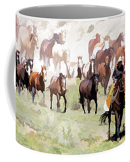 Coffee Mug featuring the digital art Raising Dust On The Great American Horse Drive In Maybell Colorado by Nadja Rider