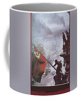 Raising The Soviet Flag  On The Reichstag Building Berlin Germany May 1945 Coffee Mug