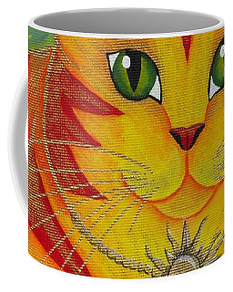 Coffee Mug featuring the painting Rajah Golden Sun Cat by Carrie Hawks