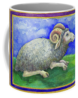 Coffee Mug featuring the painting Ram by Lora Serra