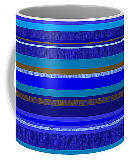 Coffee Mug featuring the digital art Random Stripes - Blue And Gold by Val Arie