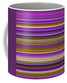 Coffee Mug featuring the digital art Random Stripes - Purple And Gold by Val Arie